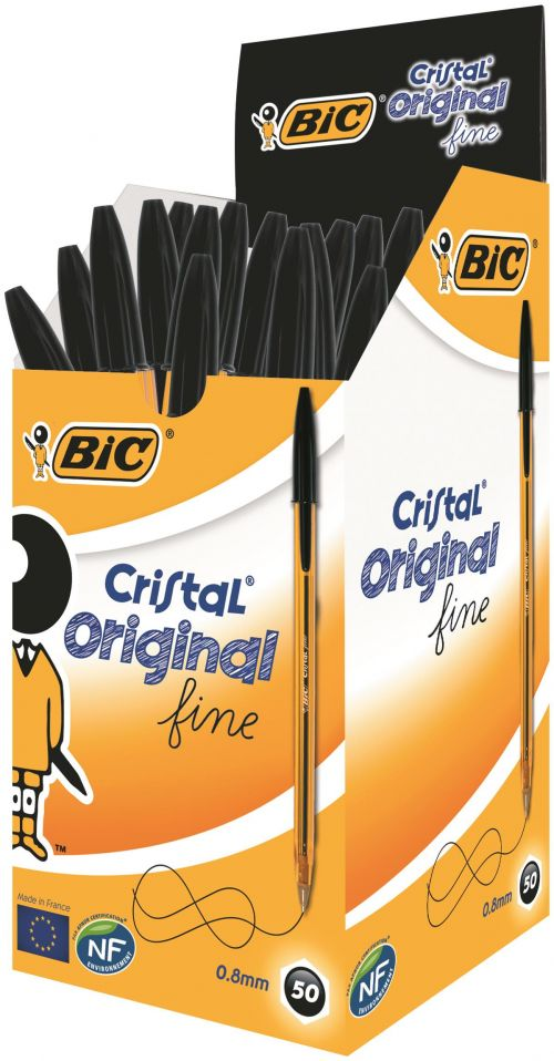 Bic Cristal Fine Ballpoint Pen Black (Pack of 50) 872731