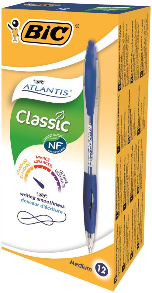 Bic Atlantis Ballpoint Pen Medium Blue (Pack of 12) 1199013670