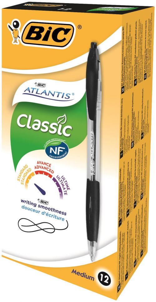 Bic Atlantis Ballpoint Pen Medium Black (Pack of 12) 949844