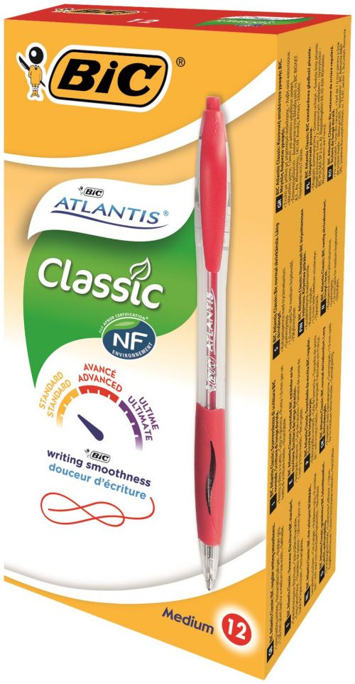 Bic Atlantis Ball Pen Retractable Cushioned Grip Medium 1.0mm Tip 0.32mm Line Red Ref 887133 [Pack 12]