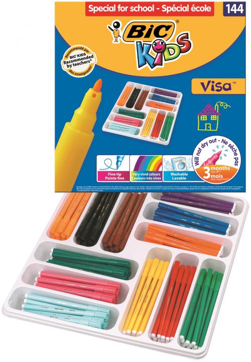 Bic Kids Visa Felt Tip Pens Fine Tip Assorted (Pack of 144) 887838
