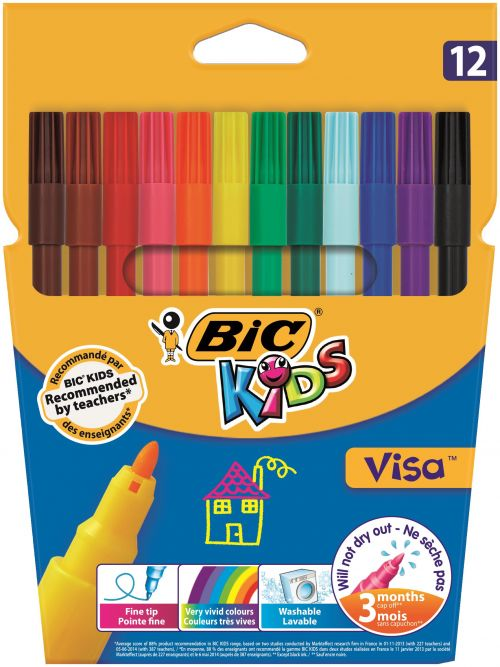 Bic Kids Visa Felt Tip Colouring Pens Washable Ink Fine Tip Wallet Asstd Cols Ref 888695 [Pack 12]