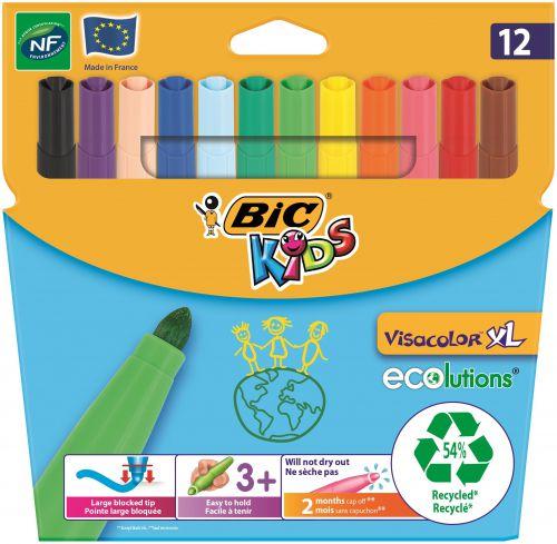 Bic Kids Visacolor Extra Large Felt Tip Pens Assorted Colours (Pack 12) 8922231