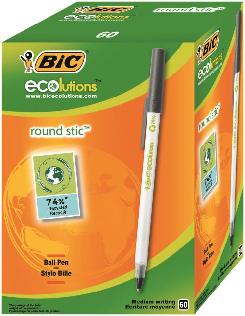 Bic Ecolutions Round Stic Ballpoint Pen Recycled 1mm Tip 0.32mm Line Black (Pack 60)