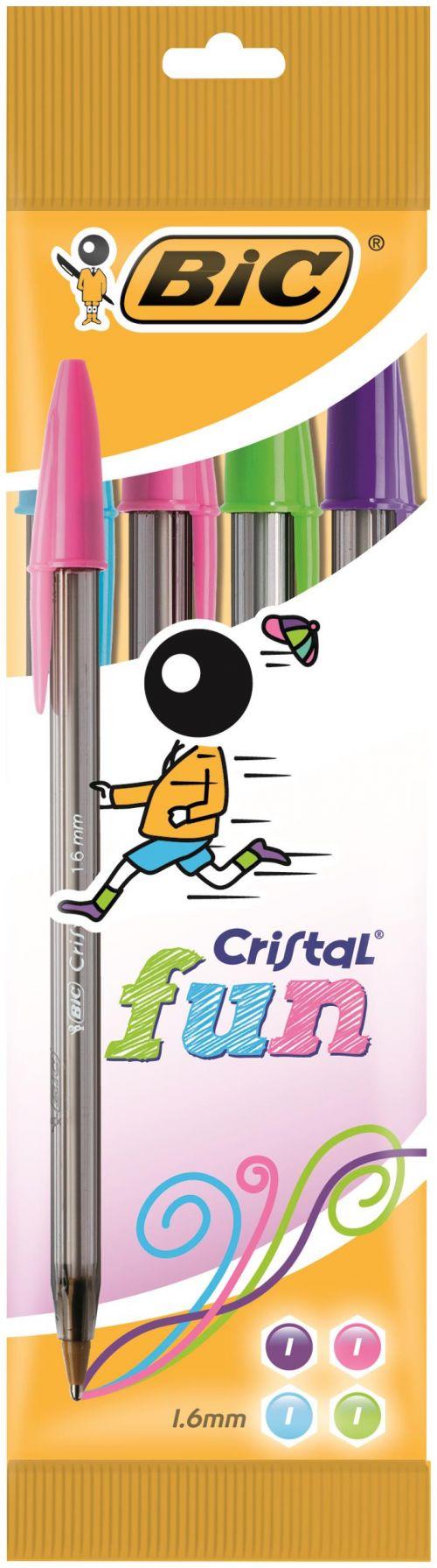 Bic Cristal FUN Assorted 1.6mm Ballpoint Pen (Pack 4) 8957921
