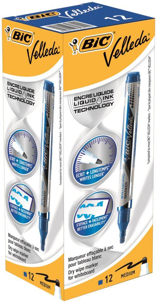 Bic Velleda Liquid Ink Pocket Dry Wipe Markers Blue
