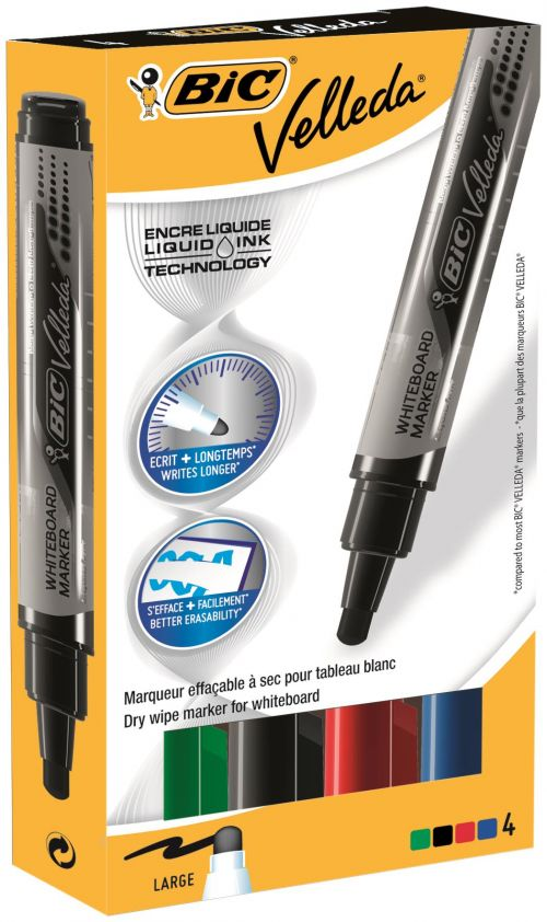 Bic Velleda Liquid Ink Pocket Whiteboard Markers Assorted PK4