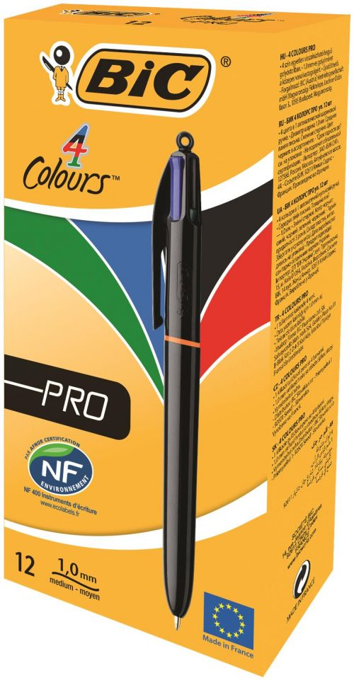 Bic 4-Colour Pro Ball Pen Medium 1.0mm Tip 0.32mm Line Blue Black Red Green Ref 902129 [Pack 12]