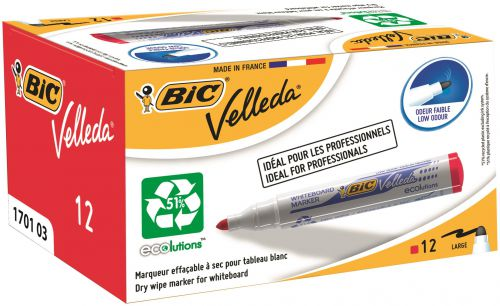 Bic Velleda Marker Whiteboard Dry-wipe 1701 Large Bullet Tip 1.5mm Line Red Ref 904939 [Pack 12]
