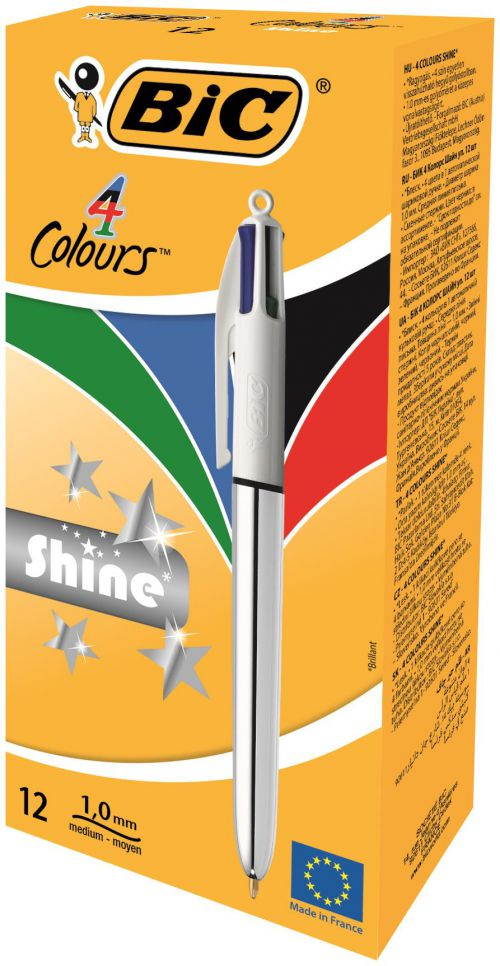 Bic 4 Colours Shine Silver Body 1.0mm Point 0.4mm Line PK12