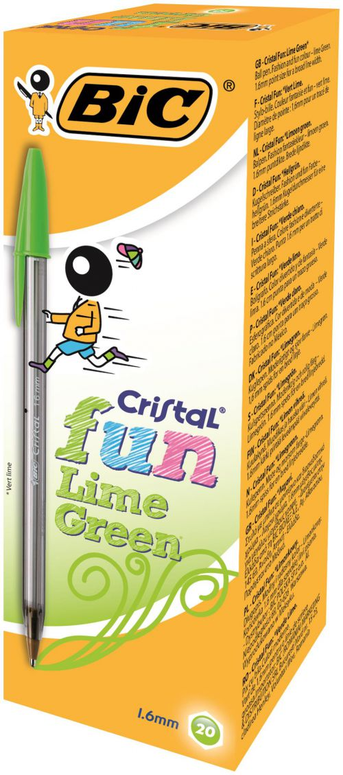 Bic Cristal Fun Ballpoint Pen 0.6mm Line Lime Green PK20