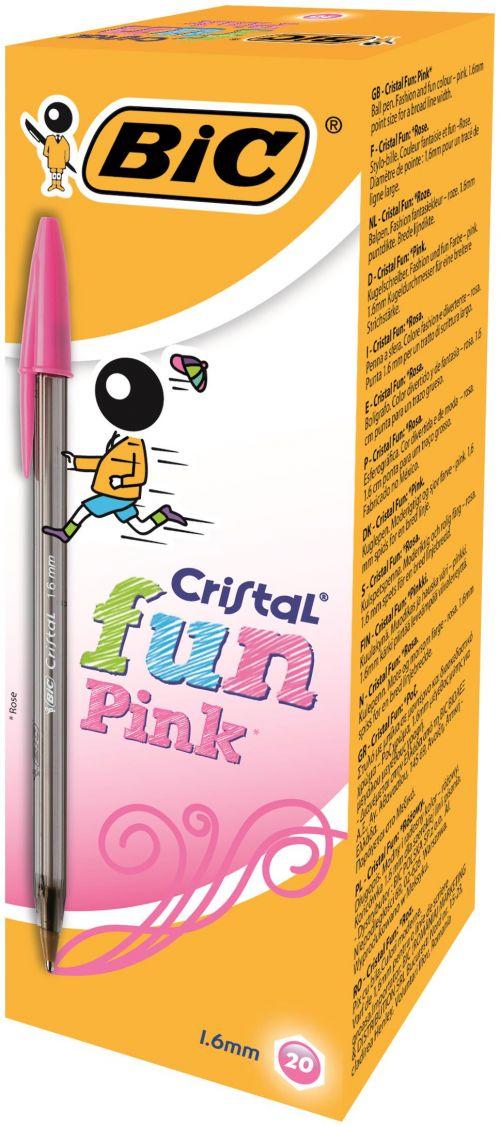 Bic Cristal Fun Ballpoint Pen 0.6mm Line Pink PK20