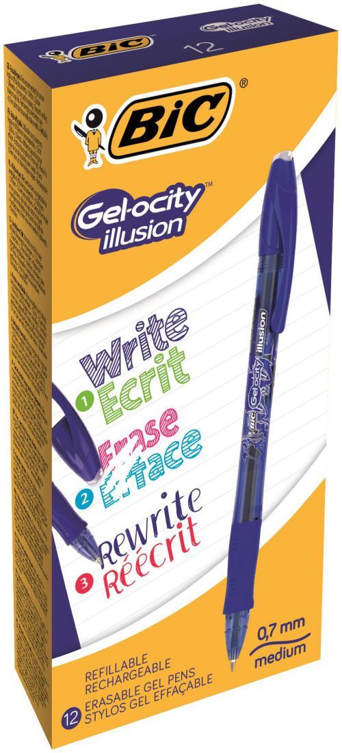 Bic Gel-ocity Illusion Erasable Pen Medium Blue (Pack of 12) 943440