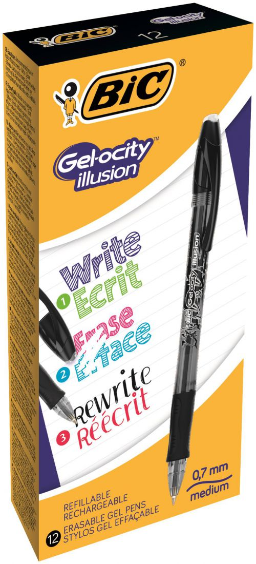 Bic Gel-ocity Illusion Erasable Gel Rollerball Pen 0.7mm Tip 0.3mm Line Black (Pack 12)