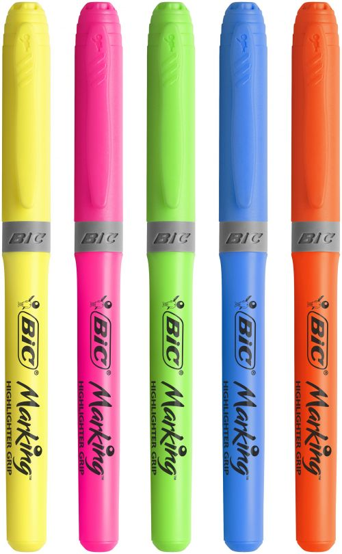Bic Grip Highlighter Pen Chisel Tip 1.6-3.3mm Line Assorted Colours (Pack 5)  | County Office Supplies