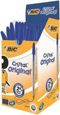 Bic Cristal Ballpoint Pen Medium Blue (Pack of 50) 837360