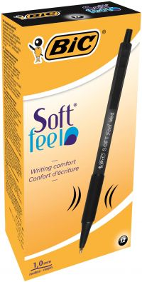 Bic Soft Feel Retractable Ballpoint Black Pen (Pack of 12) 837397