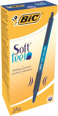 Bic Soft Feel Retractable Ballpoint Blue Pen (Pack of 12) 837398