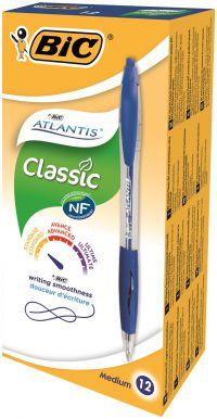 Bic Atlantis Retractable Ballpoint Blue Pen (Pack of 12) 1199013670