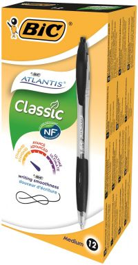 Bic Atlantis Retractable Ballpoint Black Pen (Pack of 12) with 4 Free Flex Markers 949844