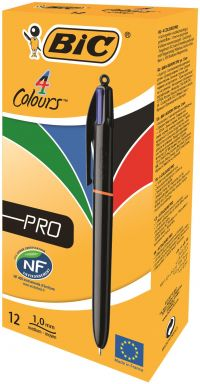 Refillable 4 in 1 Ballpoint Pens Black Blue Red Green BIC Colours Medium 1.0 mm