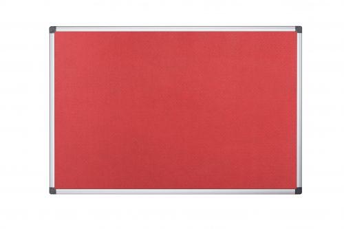Bi-Office Maya Red Felt Noticeboard Aluminium Frame 2400x1200mm