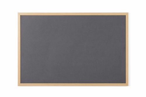 Bi-Office Earth-It Executive Grey Felt Noticeboard Oak Wood Frame 900x600mm