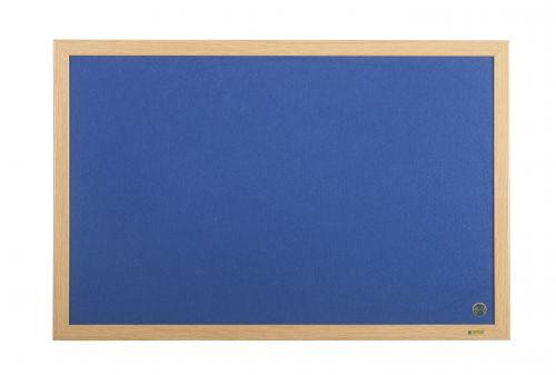 Bi-Office Earth-It Exec Blue Felt Ntcbrd Oak Frme 90x60cm