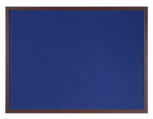 Bi-Office Earth-It Blue Felt Noticeboard Cherry Wood Frame 600x900mm