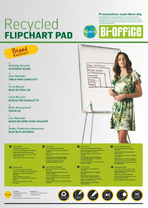 Bi-Office A1 Recycled Flipchart Pad Plain 40 sheets 55gsm (Pack 5)