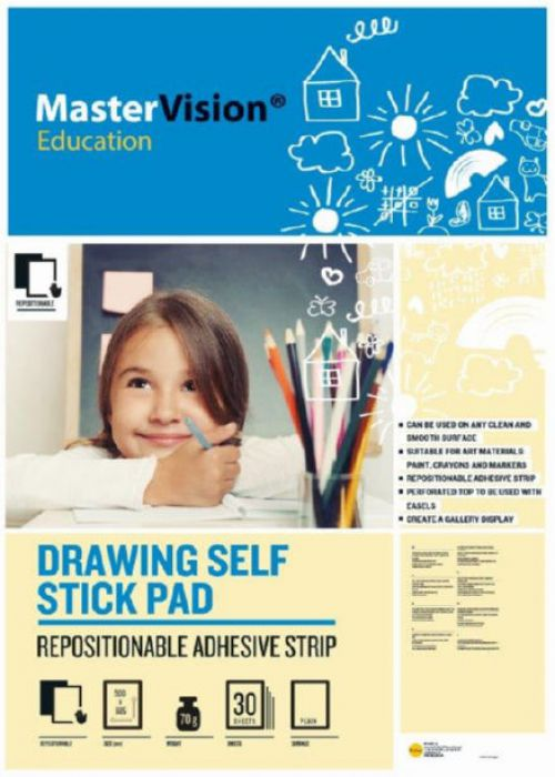 Self Stick Mastervision Drawing Pad 80 Gsm Plain 30 Sheets. Rolled 635 X 775 Mm (A1)