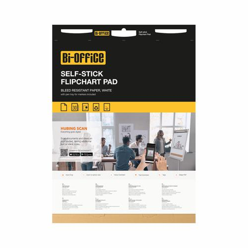 Bi-Office Self-Stick Flipchart Pad 635x762mm 30 Sheet White (Pack of 2) FL128107