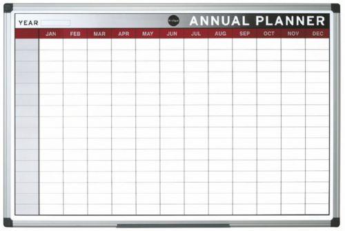 Bi-Office Annual Planner Aluminium frame 900x600 mm