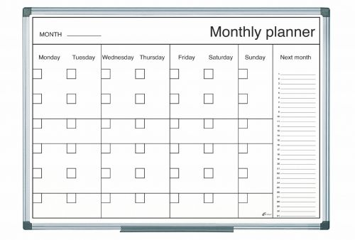 Bi-Office Magnetic Black and White Month Planner 60x40cm
