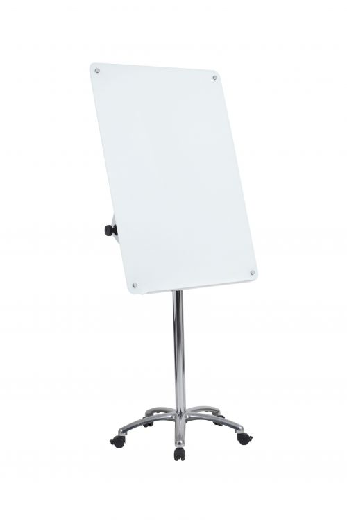Glass Magnetic Drywipe Flipchart Easel 700x1000mm With Five-Star Base And Lockable Castors
