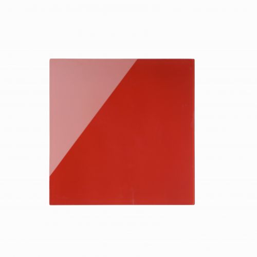 Bi-Office Red Glass Memo Tile Board 48x48cm