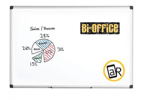 Bi-Office Maya Non Magnetic Melamine Whiteboard Aluminium Frame 1800x1200mm