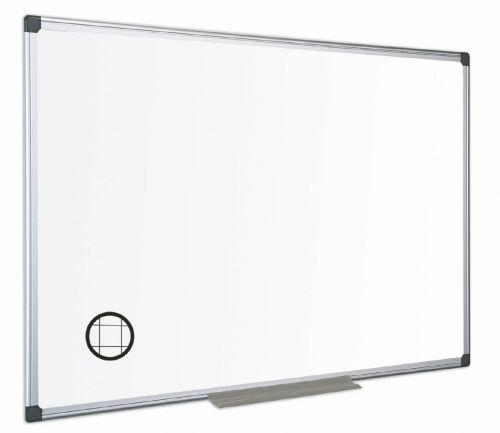 Bi-Office Maya Gridded Double Sided Non Magnetic Whiteboard Melamine Aluminium Frame 1800x1200mm