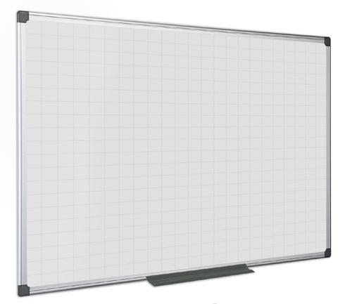Bi-Office Maya Gridded Double Sided Magnetic Laquered Steel Whiteboard Aluminium Frame 1200x1200mm