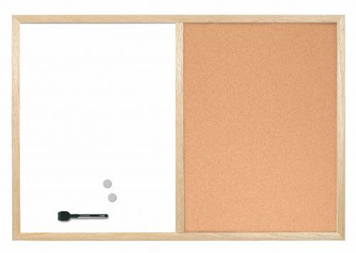 Bi-Office Wood Frame Cork/Drywipe Board 900x600mm MX07001010 ...