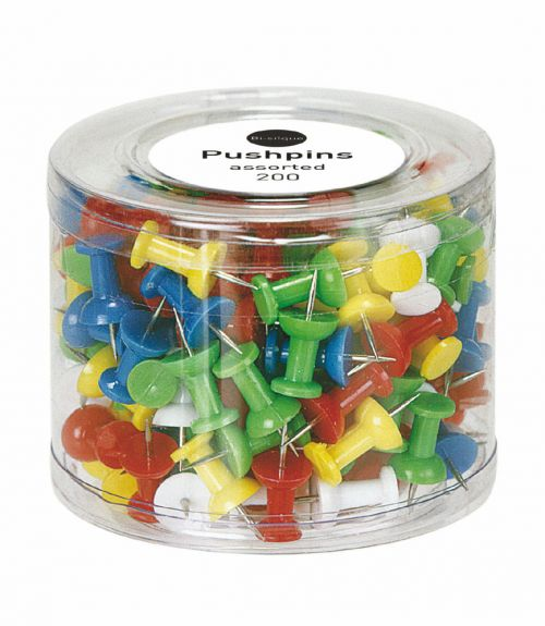 Bi-Office 200 Assorted Push Pins Notice Board Accessories 48077BS