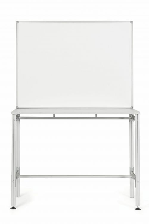 Bi-Office Desk with Magnetic Laquered Steel Whiteboard 1200x900mm Silver