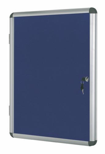 Bi-Office Enclore Blue Felt Lockable Noticeboard Display Case 6 x A4 720x670mm
