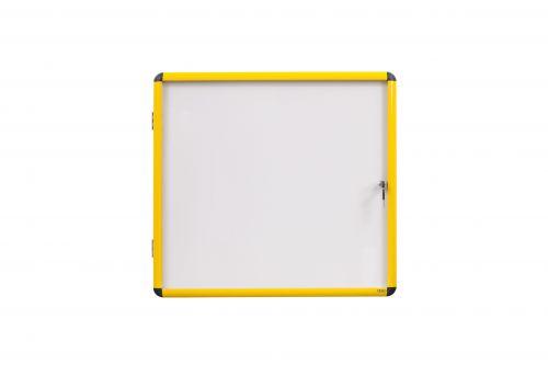 Bi-Office Ultrabite Magnetic Lockable Whiteboard Display Case Yellow Aluminium Frame 6 x A4 720x674mm