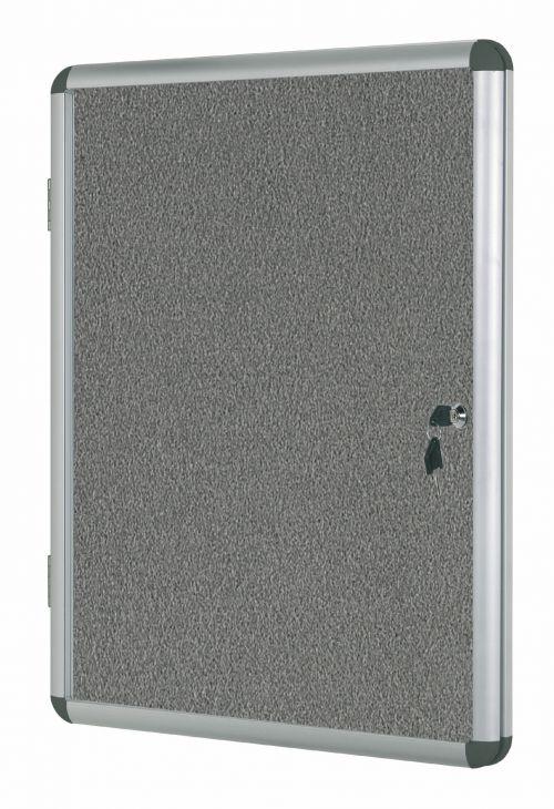 Bi-Office Enclore Grey Felt Lockable Noticeboard 9xA4