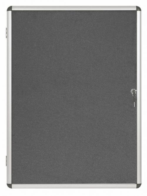 Bi-Office Internal Display Case 600x900mm Grey VT630103150 Glazed Notice Boards BQ52303