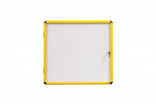 Bi-Office Ultrabite Magnetic Lockable Whiteboard Display Case Yellow Aluminium Frame 9 x A4 720x981mm