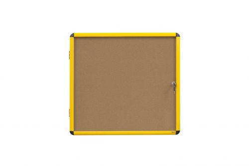 Bi-Office Ultrabrite Cork Noticeboard Display Case Lockable Yellow Aluminium Frame 9 x A4