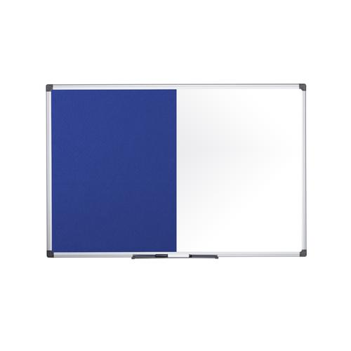 Bi-Office Maya Combination Board Blue Felt/Non Magnetic Whiteboard Aluminium Frame 900x600mm