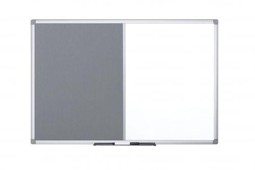 Bi-Office Maya Combination Board Grey Felt/Magnetic Whiteboard Aluminium Frame 1200x900mm